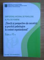 Anticariat: Directii si perspective ale cercetarii si practicii psihologice in context organizational
