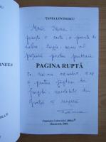 Anticariat: Tania Lovinescu - Pagina rupta (cu autograful autorului)