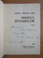 Anticariat: Corina Victoria Sein - Somnul izvoarelor (cu autograful autorului)