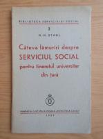 H. H. Stahl - Cateva lamuriri despre serviciul social pentru tineretul universitar din tara (1939)