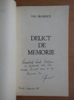 Anticariat: Val Manescu - Delict de memorie (cu autograful autorului)