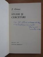 Z. Ornea - Studii si cercetari (cu autograful autorului)