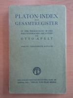 Anticariat: Otto Apelt - Platon-Index als Gesamtregister