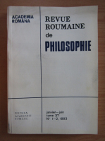 Anticariat: Revue Roumaine de Philosophie, tomul 37, nr. 1-2, ianuarie-iunie 1993