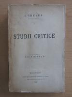 Anticariat: I. Gherea - Studii critice (volumul 1)
