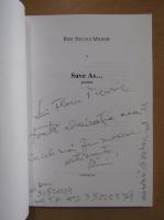Anticariat: Riri Sylvia Manor - Save As (cu autograful autorului)