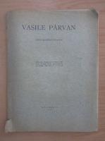 Vasile Parvan - Memoriu