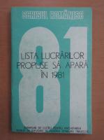 Anticariat: Editura Scrisul Romanesc. Proiect de plan editorial 1981