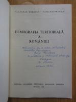 Vladimir Trebici - Demografia teritoriala a Romaniei (cu autograful autorului)