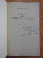 Anticariat: Vladimir Streinu - Pagini de critica literara (volumul 1, cu autograful autorului)