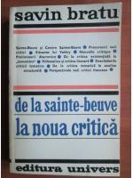 Anticariat: Savin Bratu - De la Sainte Beuve la noua critica