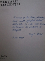 Virgil Mihai - Legea conservarii adolescentei (cu autograful autorului)